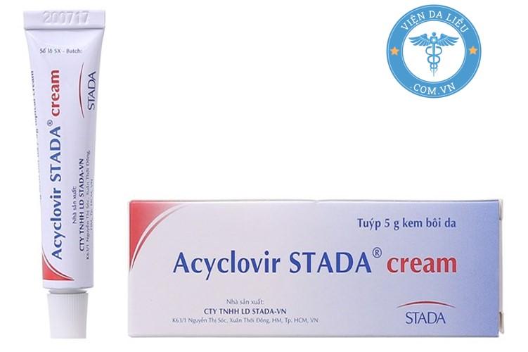 III. Thuốc bôi chốc mép gây ra bởi virus – Acyclovir Stada cream 1